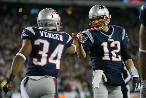 New England Patriots running back Shane Vereen, left, was activated before Monday's game against the Carolina Panthers and could play on Monday Night Football.