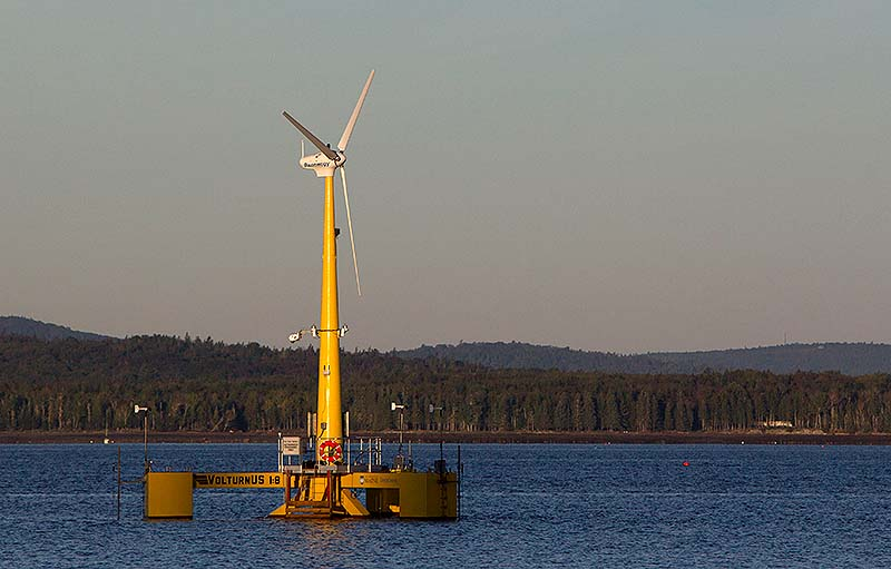 The country's first floating wind turbine, the University of Maine's 9,000-pound prototype, generates power off the coast of Castine.