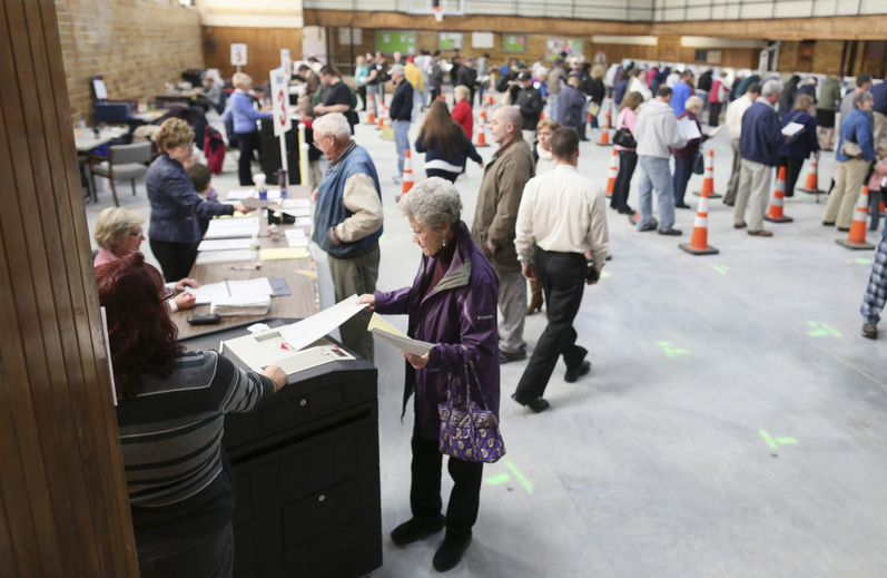 Voters cast their ballots at the J. Richard Martin Community Center Gym in Biddeford on Nov. 6, 2012. Outside groups spent more than $3.7 million in Maine in the 2012 elections, financing the most expensive legislative races in state history.
