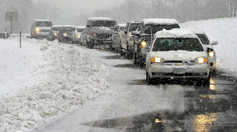 In this 2011 file photo, traffic becomes backed up after a crash near the Maine Mall. According to new studies, traffic accidents spike during the final days leading up to Christmas.