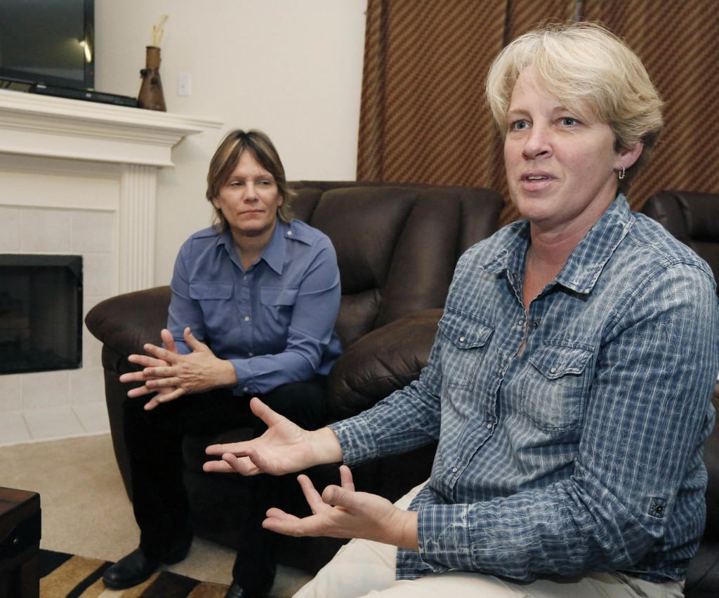 Dawn Jefferies, right, speaks about the efforts Lauren Czekala-Chatham, left, has taken to get Mississippi to recognize a same-sex marriage performed in California, so she can now divorce the partner she lived with until 2010 in DeSoto County.