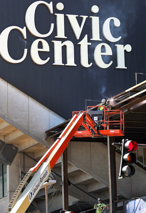 A worker welds a steel beam on the exterior of the Cumberland County Civic Center. Some readers aren't all that upset by the loss of the Portland Pirates, favoring more profitable options or even a brand-new team.