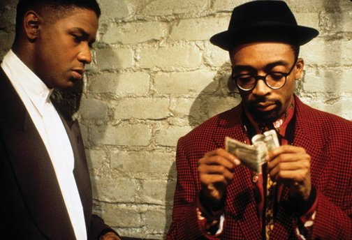 "Denzel Washington and Spike Lee in ""Mo' Better Blues."""