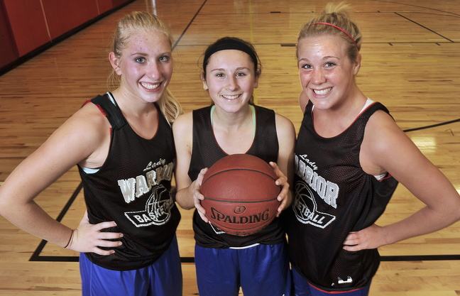 Thre's plenty of talent and plenty of teamwork on the Wells High girls' basketball team that may make a big-time run this season in the Western Maine Conference. And the key senior players include, left to right, forward Alison Furness, point guard Nicole Moody and forward Sophie Lamb.