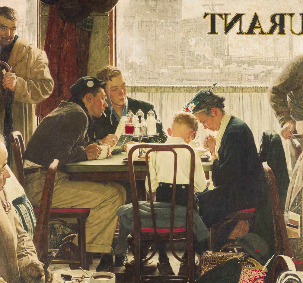 """Norman Rockwell's """"Saying Grace"""" is inspired by a Mennonite family observed praying in a restaurant."""