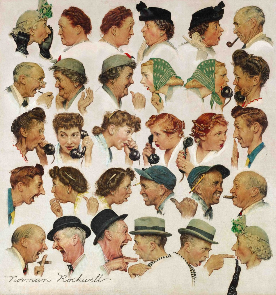 """This undated file photo provided by Sotheby's shows the popular Norman Rockwell masterpiece """"The Gossips"""" which sold Wednesday, Dec. 4 for just under $8.5 million at Sotheby's in New York."""