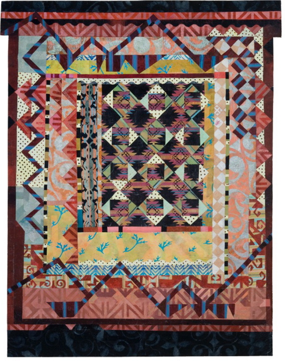 "Portland artist Alice Spencer exhibits a series of new work based on the textile tradition of patchwork, which is found all over the world. The show, ""Kasaya,"" is on view through Dec. 21 at Aucocisco Galleries, 89 Exchange St., Portland. The gallery will be open for Portland's First Friday Art Walk, from 5 to 8 p.m. Also on view is ""Heather Perry: The Weight of the Heavenly Garden in the Plane of Existence."" Shown here is Spencer's ""Kasaya 3."""