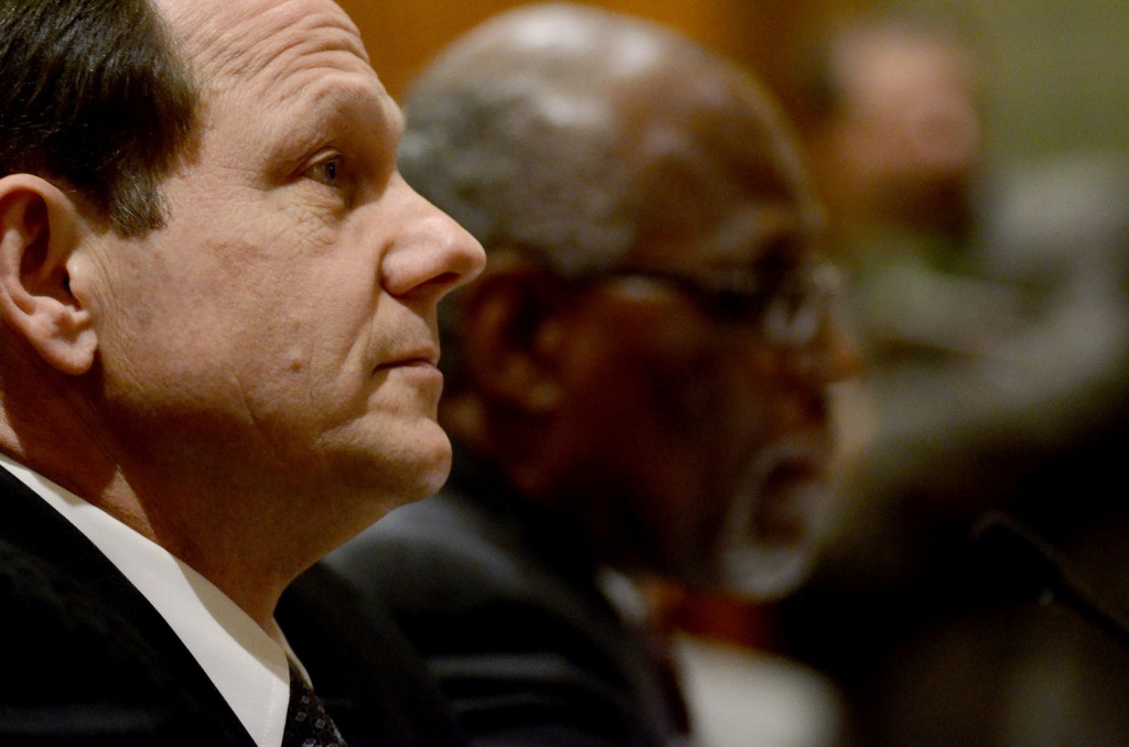 St. Louis Mayor Francis Slay speaks to the Missouri Senate Jobs, Economic Development & Local Government committee Tuesday, Dec. 3, 2013, during a special session in Jefferson City, MO, aimed to bring production of the new Boeing 777X to the St. Louis production plant.