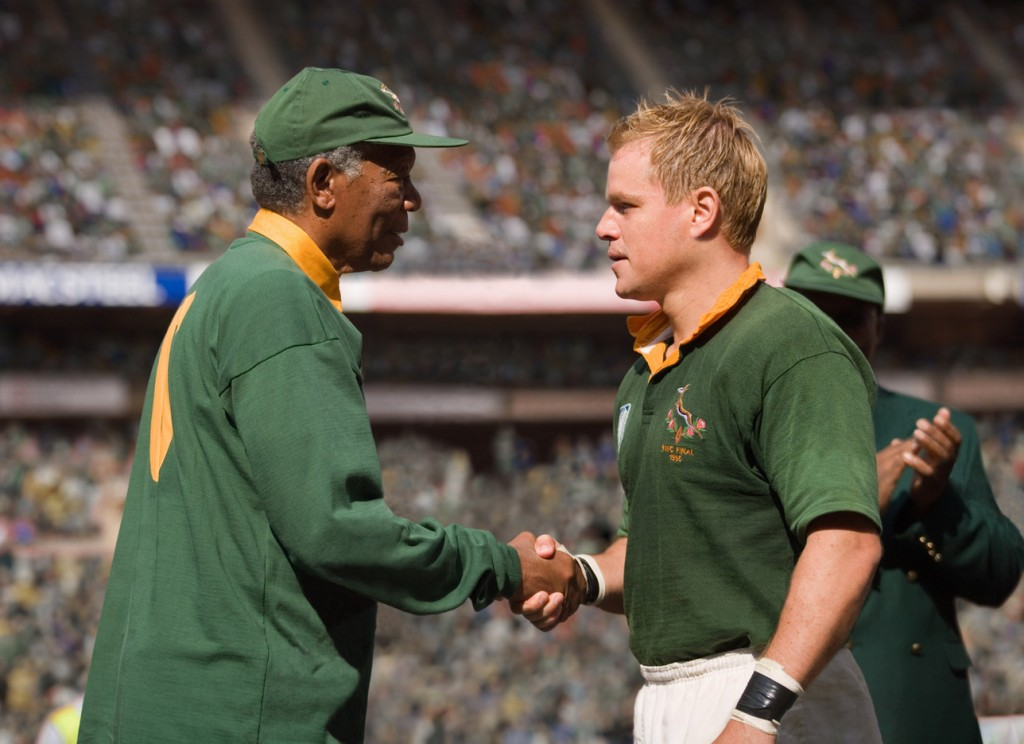 "In this film publicity image released by Warner Bros.,Morgan Freeman portrays Nelson Mandela, left, and Matt Damon portrays Francois Pienaar in a scene from the film, ""Invictus."" From the 1960s, when he was a political prisoner and South Africa was under the laws of apartheid, right up to recent times, when apartheid had fallen and he was among the world's most admired people, Mandela inspired concerts, songs, poems, fiction and movies."