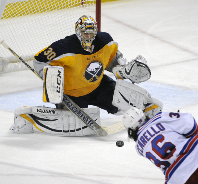 Buffalo'a Ryan Miller awaits a point-blank shot by New York left winger Mats Zuccarello – it ended up as a goal – during third-period action of Thursday night's game in Buffalo, won by the Rangers 3-1.