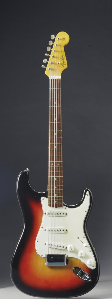 In this undated photo provided by Christie's Auction House, the Fender Stratocaster a young Bob Dylan played at the historic 1965 Newport Folk Festival is shown. It sold at auction for close to $1 million.