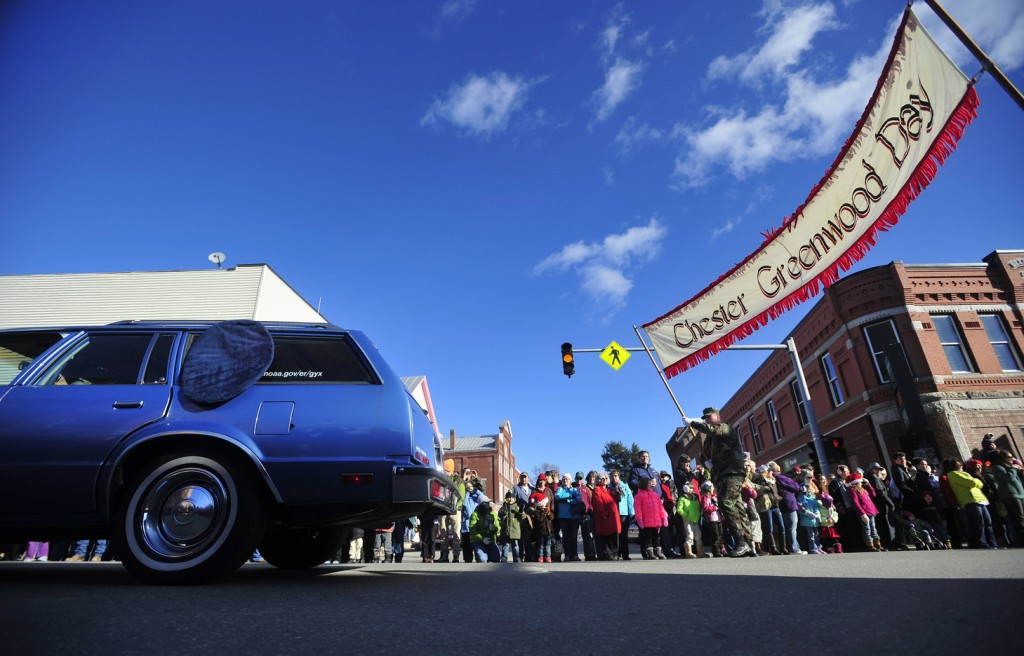 The annual Chester Greenwood Day parade crosses the Broadway and Main Street intersection in downtown Farmington on Saturday.