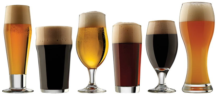 The Libbey Craft Brew set has two each of six glasses: a classic pilsner, an English pub glass, a Belgian ale glass, a craft pub glass, a porter/stout glass and a wheat beer glass.