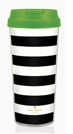 Kate Spade's black and white mug with a sassy green lid could be given with some coffee, tea or cocoa.