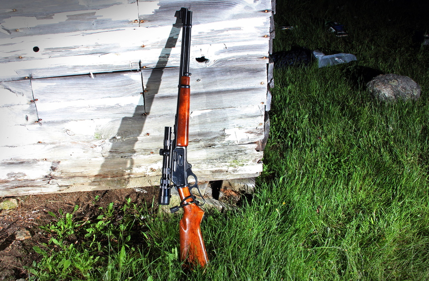 Police investigators say James Reynolds stole this .35-caliber, lever-action Marlin hunting rifle and pointed it at Trooper Jason Wing in a confrontation last June. Only after the shooting did police learn that the rifle was unloaded and the lever was secured with a cable lock.