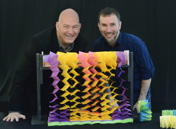 "Fritz Grobe and Stephen Voltz work on new projects like this one called ""Sticky Note Waterfall"" in their Buckfield lab. Tuesday, December 3, 2013. John Patriquin/Staff Photographer."