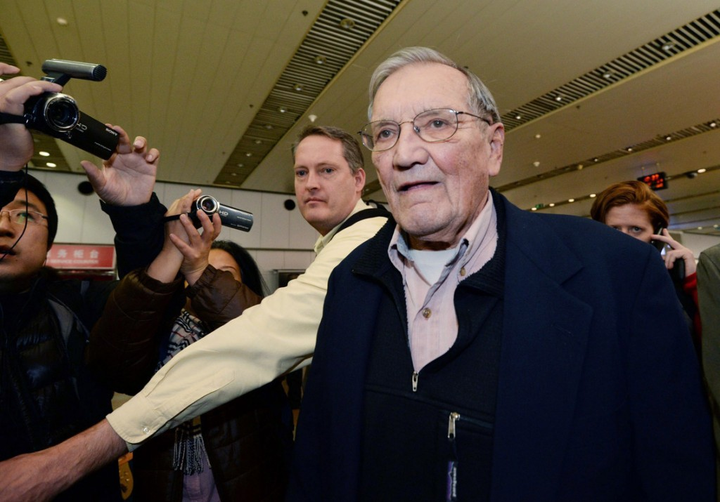 U.S. tourist Merrill Newman arrives at Beijing airport Saturday after being released by North Korea. Newman was detained for more than a month.