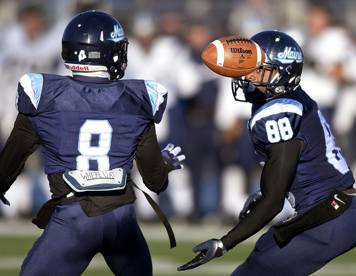 The game didn't start on a good note for UMaine, after a miscommunication between Derrick Johnson, left, and Damarr Aultman led to a fumble on the opening kickoff. The Black Bears recovered but went on to lose to New Hampshire, 41-27.