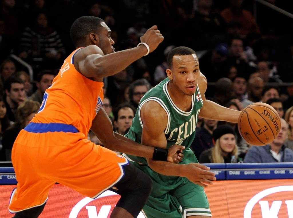Boston's Avery Bradley works around Tim Hardaway Jr. during the second half of the Celtics' convincing victory over the Knicks at Madison Square Garden on Sunday.
