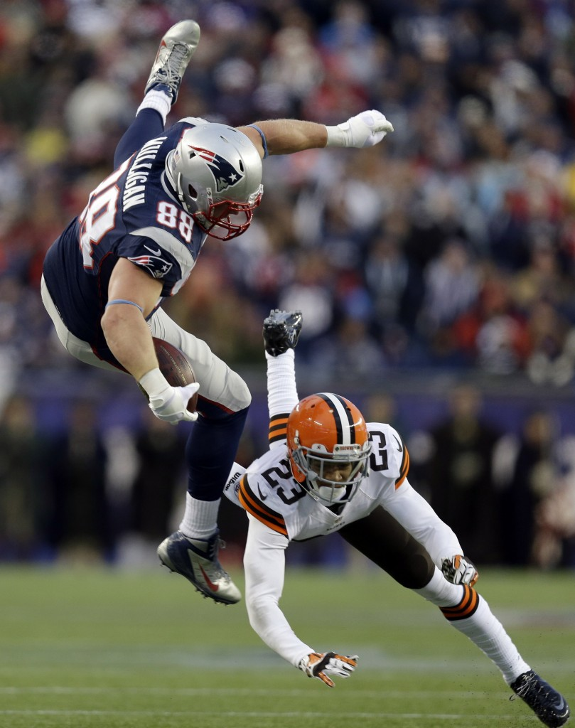 Former Black Bear Matthew Mulligan might not be Rob Gronkowski, but as he shows Cleveland cornerback Joe Haden, he'll hurdle any obstacle.