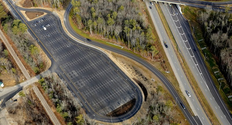 The park-and-ride lot off I-295's Exit 15 in Yarmouth is intended to increase opportunities for van-pooling, car-pooling and use of public transit. With 300 spaces, it's far bigger than any of the state's other 51 park-and-ride lots, and has been open for nearly three weeks.