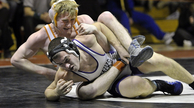 Jackson Howarth of Marshwood, bottom, won a state title at 145 pounds last season. He is likely to move up a weight class or two. He has 93 wins in his first two years.