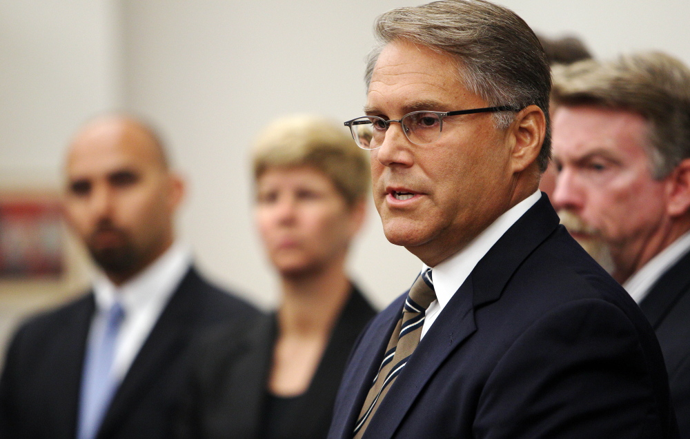 U.S. Attorney John Kacavas speaks during an Aug. 14 news conference in Concord, N.H., after accepting a guilty plea from David Kwiatkowski in Federal Court. Recently released documents reveal that a nurse suspected that Kwiatkowski tampered with medications.