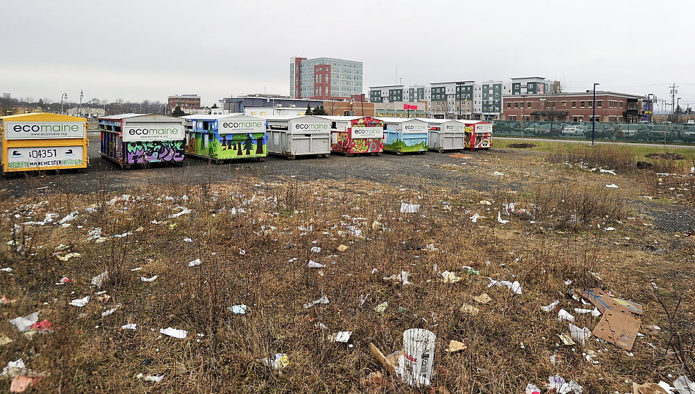 The site of the proposed first phase of the 'midtown' development in Bayside, where ecomaine recycling containers currently reside.