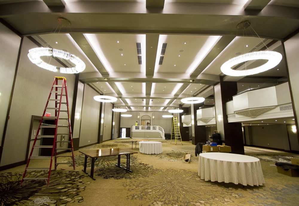 The Ballroom of the Westin Portland Harborview Hotel, formerly the Eastland, receives finishing touches in preparation for its grand reopening Thursday.