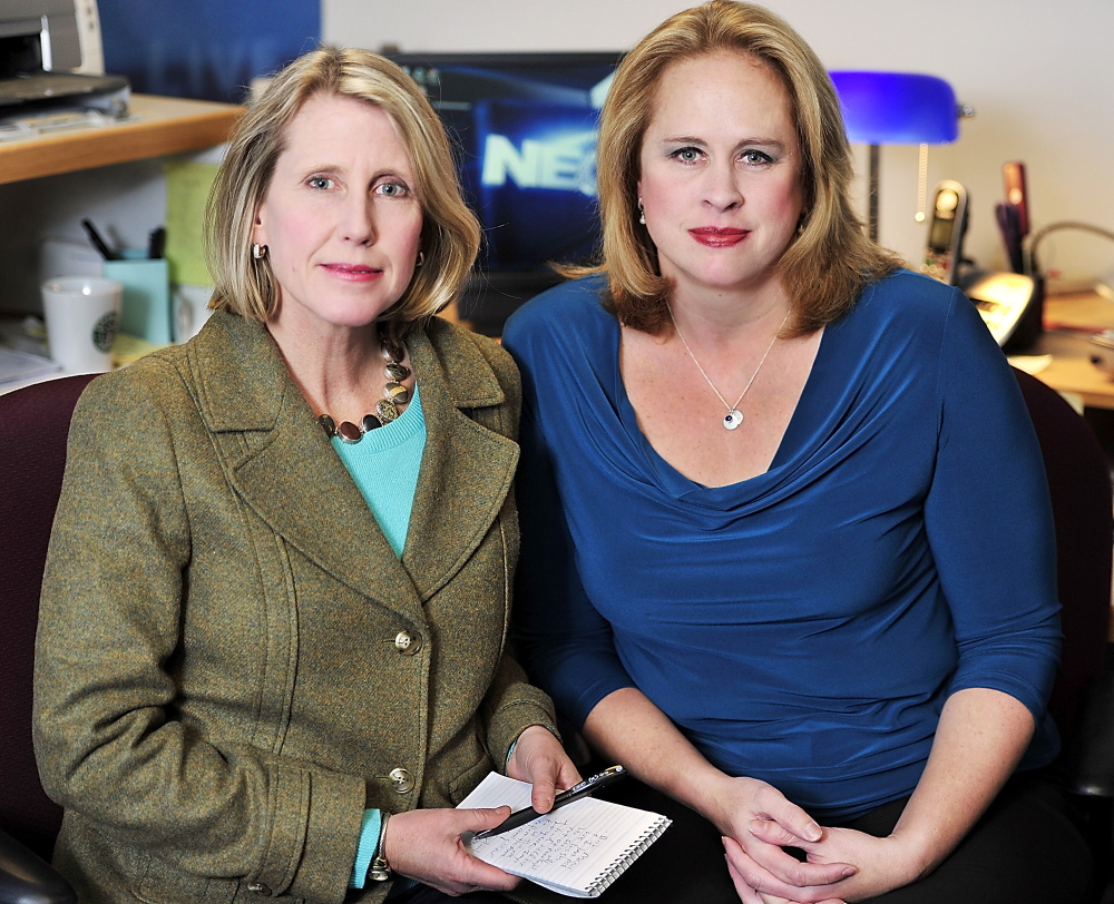 Reporters Amy Sinclair, left, and Marnie MacLean, who cover Maine for NECN out of Portland, say they don't know what Time Warner's decision means for the future of the bureau.