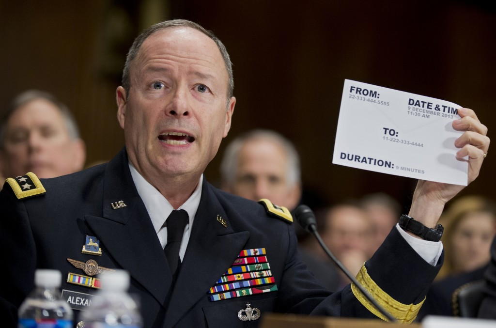 """National Security Agency (NSA) Director Gen. Keith Alexander testifies on Capitol Hill in Washington, Wednesday, Dec. 11, 2013, before the Senate Judiciary Committee hearing on """"Continued Oversight of U.S. Government Surveillance Authorities."""""""