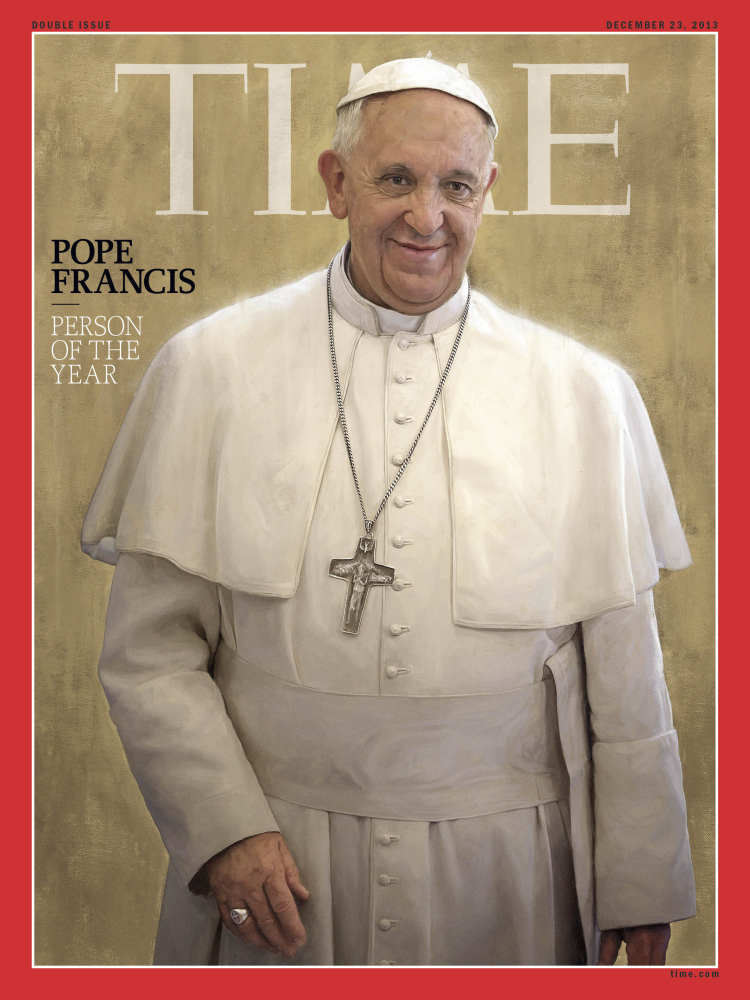 Pope Francis, Time magazine's 2013 Person of the Year, is seen an undated photo of the magazine cover provided by Time. Time said the Catholic church's new leader has changed the perception of his organization in an extraordinary way in a short time.