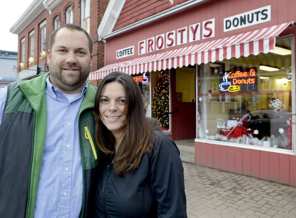 Nels and Shelby Omdal bought Frosty's Donuts in Brunswick, shown here, two years ago. They have added shops in Bath and Freeport and have a contract to provide doughnuts to Hannaford supermarkets.