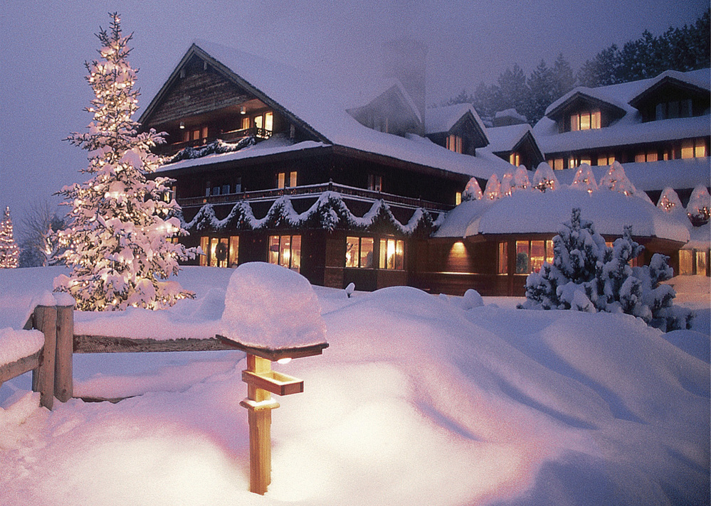 """The Trapp Family Lodge in Stowe, Vt., is lit up for the Christmas holidays. The von Trapp family members at the vacation lodge watched a televised revival of """"The Sound of Music"""" on Dec. 5, and though the show was good publicity, they questioned the casting."""