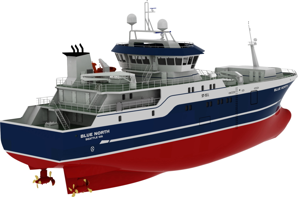 This computer drawing provided by Blue North Fisheries shows a new 191-foot commercial fishing boat design. The boat is intended to be safer for workers by positioning fishermen behind the protection of the boat's hull instead of up on deck.