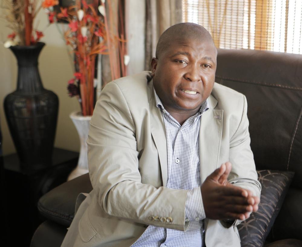 Thamsanqa Jantjie gestures at his home during an interview with the Associated Press in Johannesburg, South Africa, on Thursday.