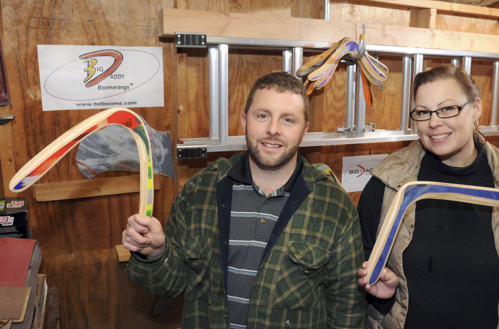 Jeff and Kari LeBeau produce wooden and plastic boomerangs in Springfield, Mass. Their three sons help with design ideas for the family business, Big Daddy Boomerangs.