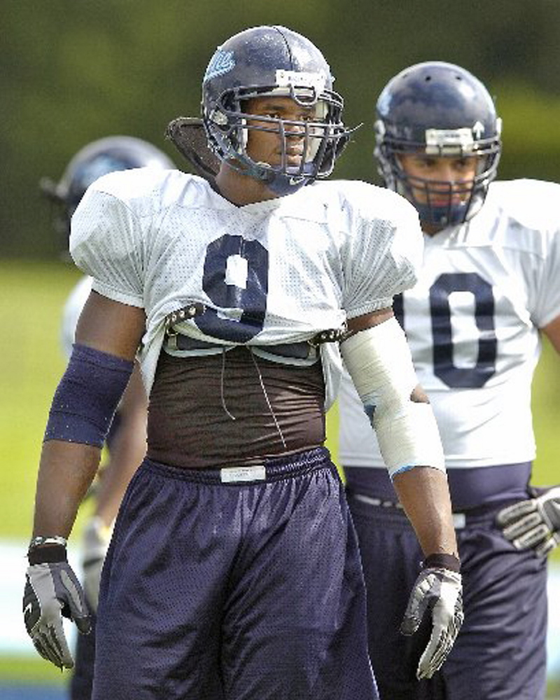 UMaine player Jovan Belcher is seen at practice in August 2008. He was a member of the student organization Male Athletes Against Violence at the school, according to a professor who founded the group.