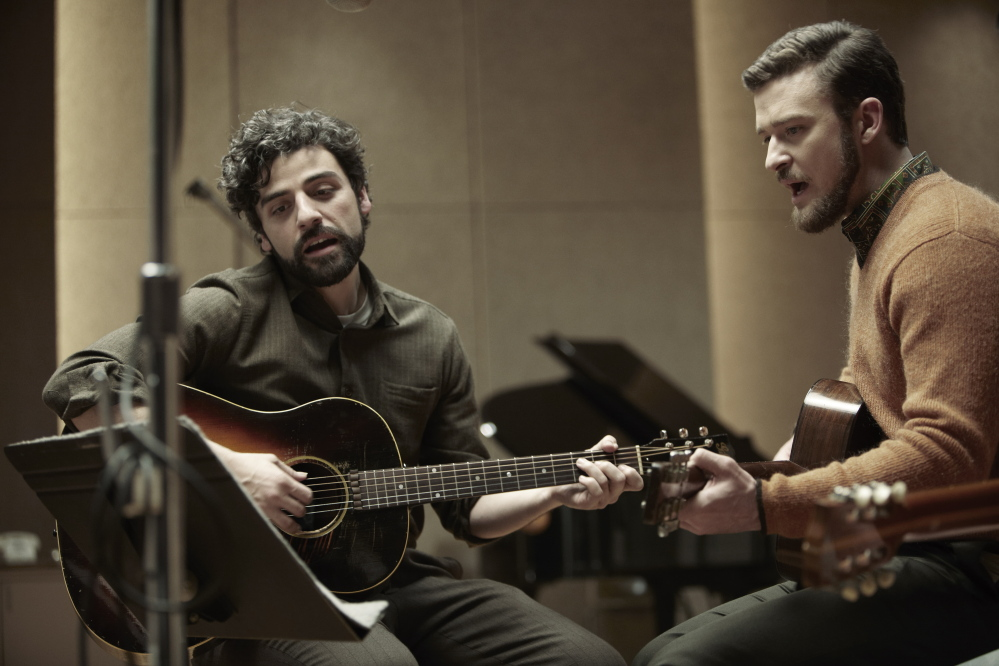 Oscar Isaac, left, and Justin Timberlake are '60s-era folkies Llewyn Davis and Jim Berkeley.