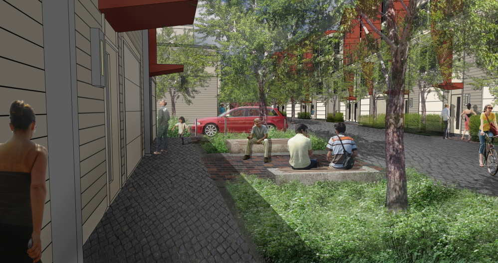 "An architectural rendering of Munjoy Heights shows the proposed development's use of ""woonerf"" – space designed to be shared by walkers, bicyclists and vehicles."