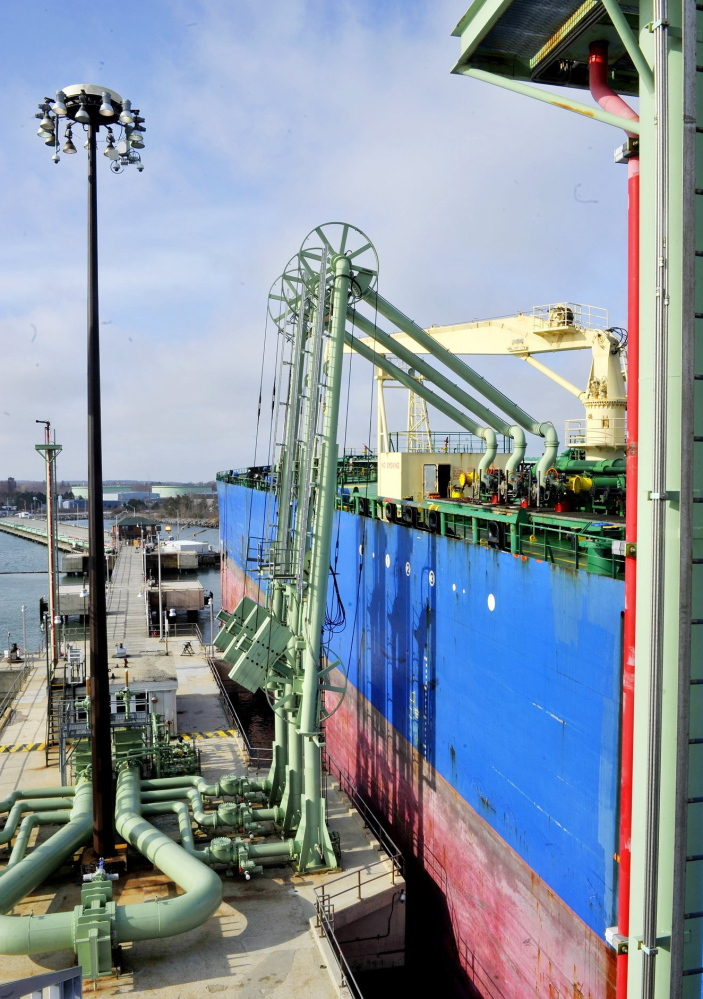 Oil is unloaded from a tanker at Portland Pipe Line's South Portland pier.