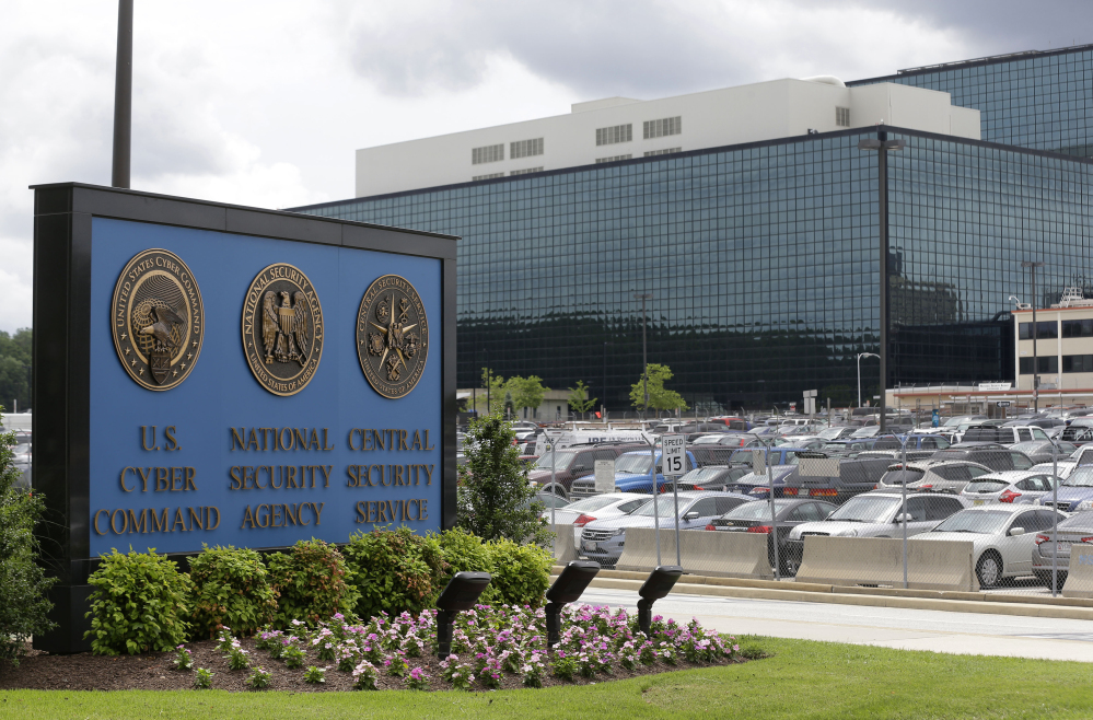 A sign marks the National Security Agency campus in Fort Meade, Md. A federal judge says the NSA's bulk collection of phone records violates the Constitution's ban on unreasonable searches. The judge put his decision on hold pending a nearly certain government appeal.