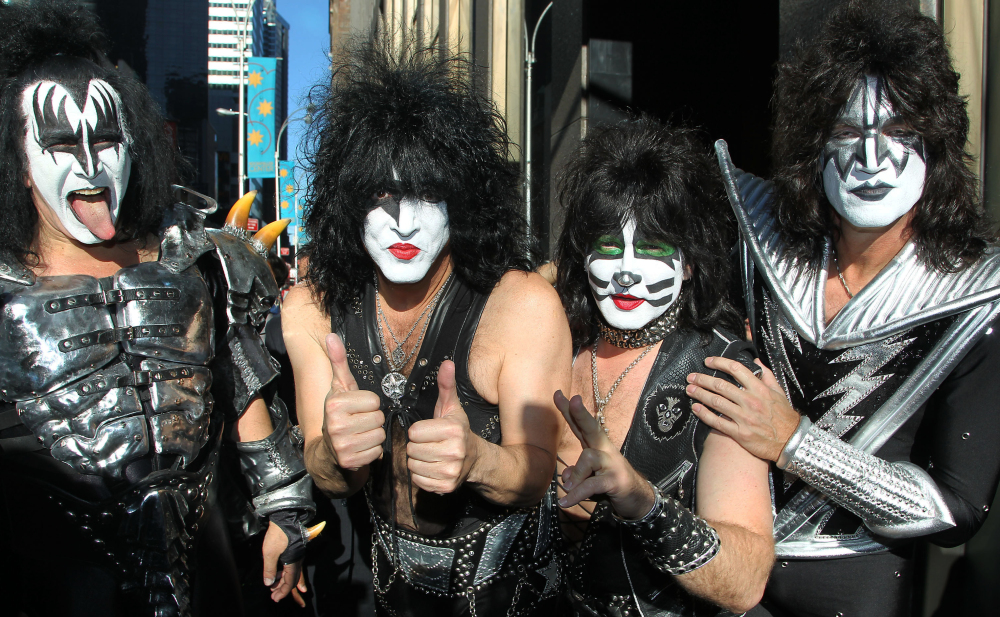 Kiss, whose members include, from left, Gene Simmons, Paul Stanley, Eric Singer and Tommy Thayer will be inducted into the Rock and Roll Hall of Fame on April 10.