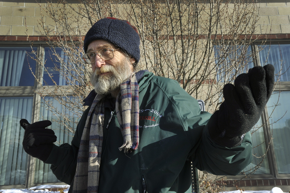 Members and advocates of the Preble Street Homeless Voices for Justice gathered at the Portland office of the Maine Department of Health and Human Services Tuesday morning to protest the proposed move out of Portland. Jim Devine, a former homeless person, and an advocate for the homeless, participated in the protest.
