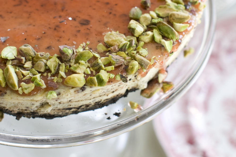 In this recipe for red currant and chocolate cheesecake, chopped chocolate is a distinct, toothsome confetti strewn throughout the cake.