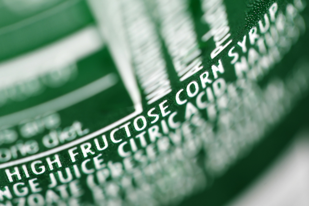 A nutrition label on a can of soda shows corn syrup as an ingredient. Over the past decade, the use of high-fructose corn syrup in packaged foods and drinks has fallen 18 percent, according to market researcher Euromonitor International.