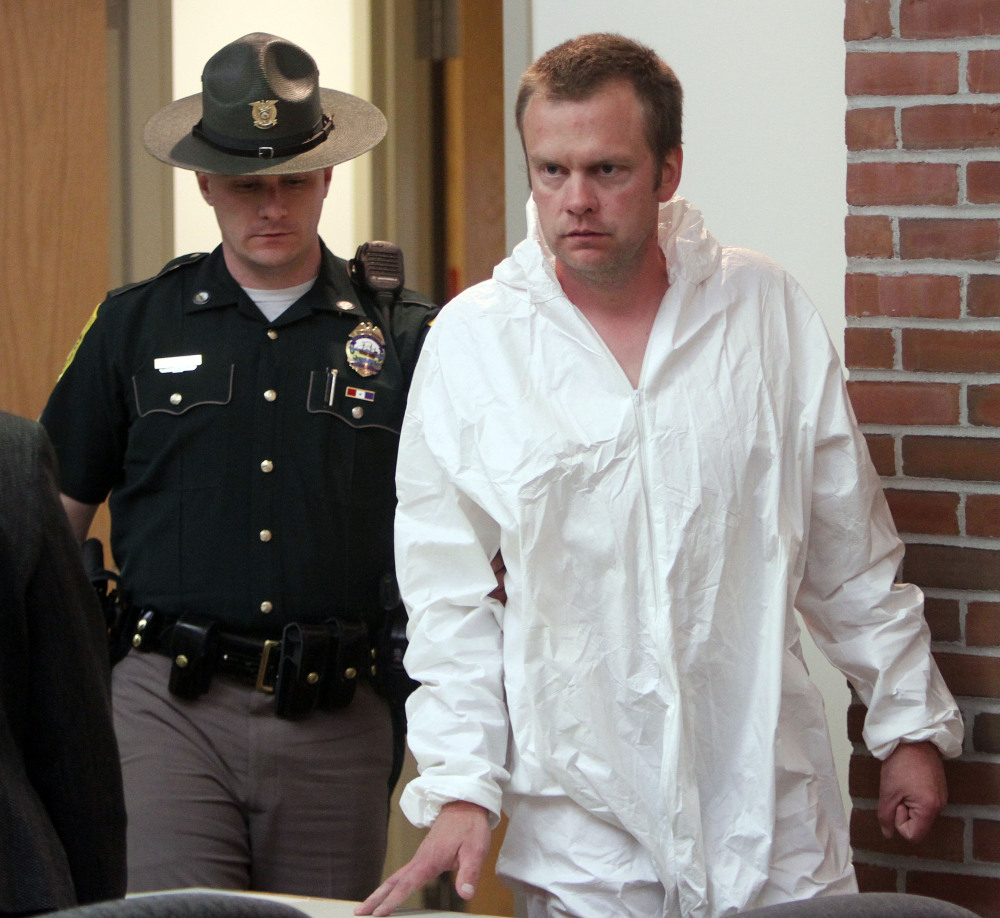 James Perriello arrives at District Court in Newport, N.H. Perriello shot his wife to death in a jealous rage as their young son slept nearby.