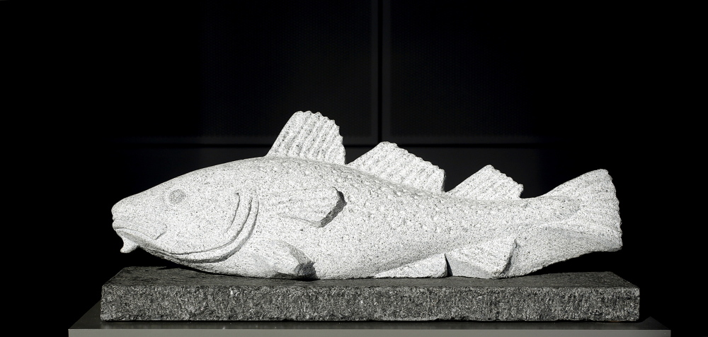 """""""Cod"""", created from granite, by artist Stephen Lindsay."""