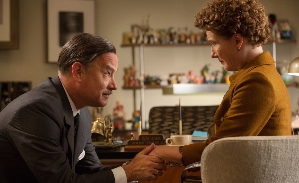 "Tom Hanks as Walt Disney and Emma Thompson as author P.L. Travers in a scene from ""Saving Mr. Banks."""