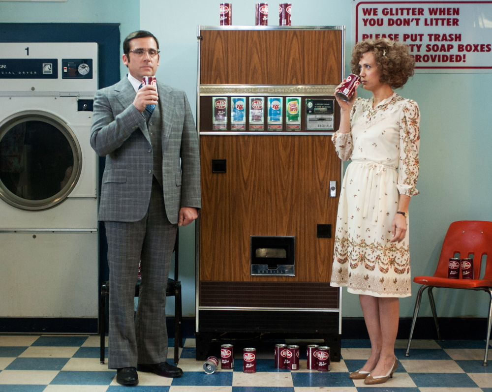 Steve Carell as meteorologist Brick Tamland and Kristen Wiig as Chani, Brick's lover.